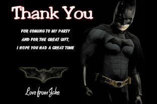 Personalised Batman Thank You Cards